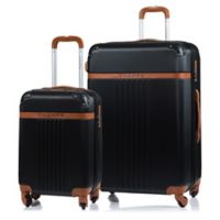 CHAMPS Vintage 2-Piece Hardside Expandable Spinner Luggage Set in Black