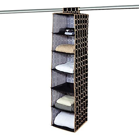 The Macbeth Collection 6 Shelf Hanging Closet Organizer In Hula Black