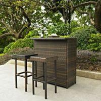 Crosley Palm Harbor 3-Piece Wicker Bar Set