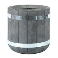 Winsome House® 11.8-Inch Diameter Round Fiberclay Plank-Style Planter in Grey