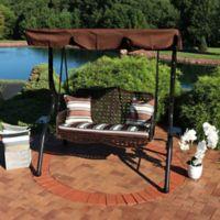 c0c6836e Sunnydaze Decor 2-Person Patio Swing with Canopy in Brown