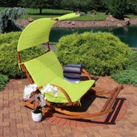 Sunnydaze Decor® 2-Person Wooden Rocking Chair in Line Green