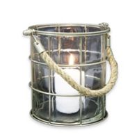 Green Glass 6.5-Inch Votive Candle Holder with Rope Handle