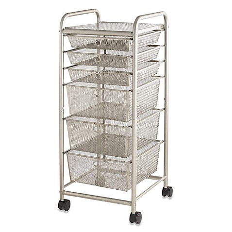 metal storage cart 6 drawer rolling metal cart bed bath amp beyond 23289