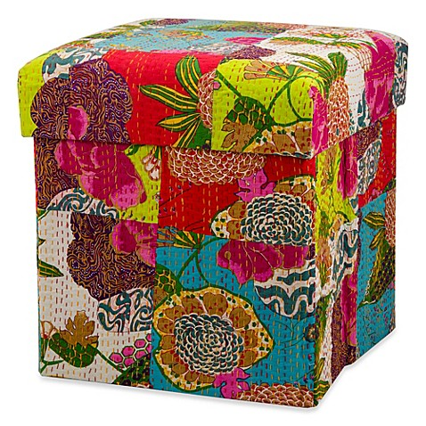 Nourison Multi Floral Patchwork Collapsible Ottoman