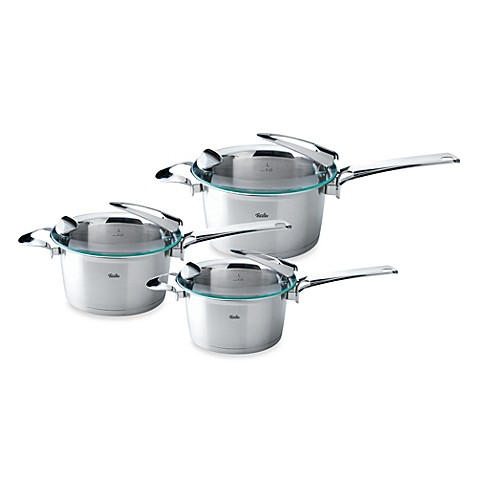 fissler solea stainless steel high covered saucepans bed bath beyond. Black Bedroom Furniture Sets. Home Design Ideas