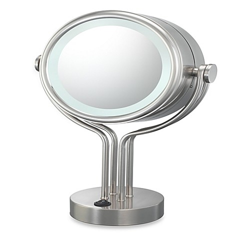 Buy kimball young lighted 5x 1x magnification free standing vanity mirror in brushed nickel for Bathroom mirrors brushed nickel