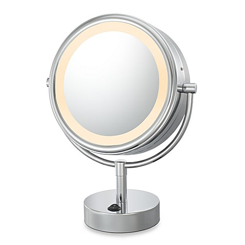 kimball young led lighted 5x 1x magnification free standing vanity mirror in chrome bed bath. Black Bedroom Furniture Sets. Home Design Ideas