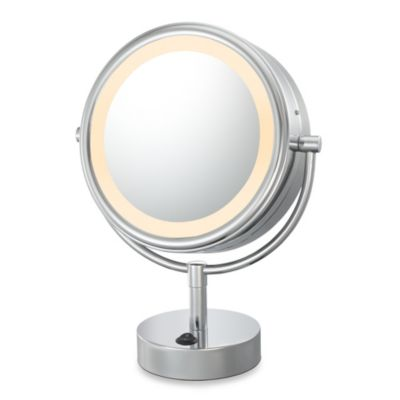 Lighted Vanity Mirror Chrome : Kimball & Young LED Lighted 5X/1X Magnification Free Standing Vanity Mirror in Chrome - Bed Bath ...