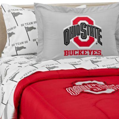 Ohio State University School Logo Applique Bedding Set Bed Bath