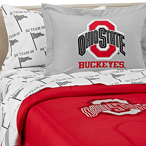 ohio state bedroom ohio state school logo applique bedding set 12731