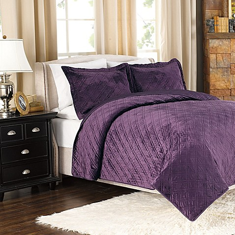 Plush Reversible Mink-to-Satin Quilt and Sham Set in Plum - Bed ... : plum quilt - Adamdwight.com