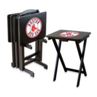 MLB Boston Red Sox TV Tray Set with Storage Rack (Set of 4)