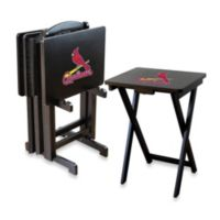 MLB St.Louis Cardinals TV Tray Set with Storage Rack (Set of 4)