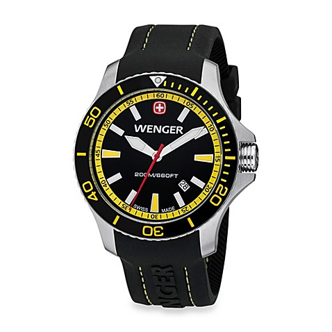Wenger® Men's Sea Force Rubber Strap Watch w/Black and Yellow Dial