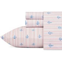 Nautica® Curt 200-Thread-Count Stripe King Sheet Set in Red