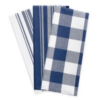 Elrene Farmhouse Living Kitchen Towels in Blue/White (Set of 3)