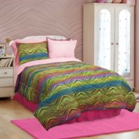 Veratex Rainbow Zebra Reversible Queen Comforter Set in Pink