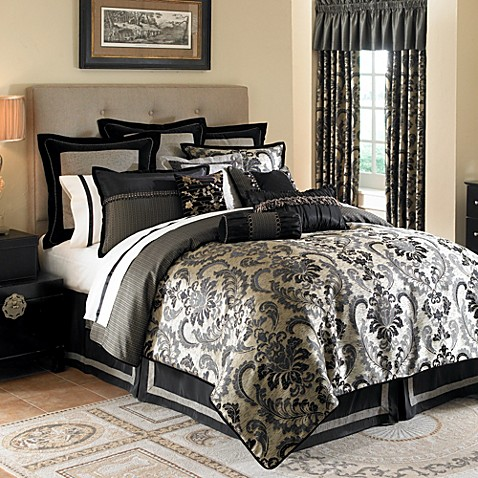 Waterford® Ormonde Bedding Ensemble in Black and Gold