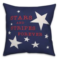 "Designs Direct ""Stars and Stripes Forever"" Square Throw Pillow in Blue"