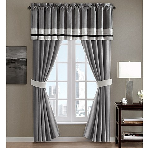 Dylan Window Curtain Panel Pair And Valance In Grey Bed