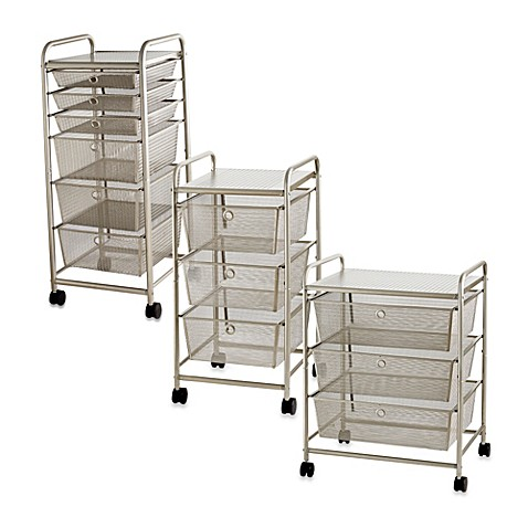 metal storage cart rolling metal cart with drawers bed bath amp beyond 23289