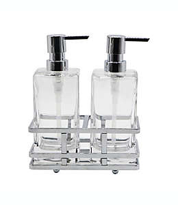 Set de dispensadores de jabón y crema de vidrio Indecor Home Anaheim con base cromada, 3 piezas