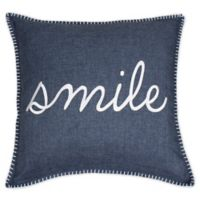 Shiloh Smile Square Throw Pillow in Midnight Navy