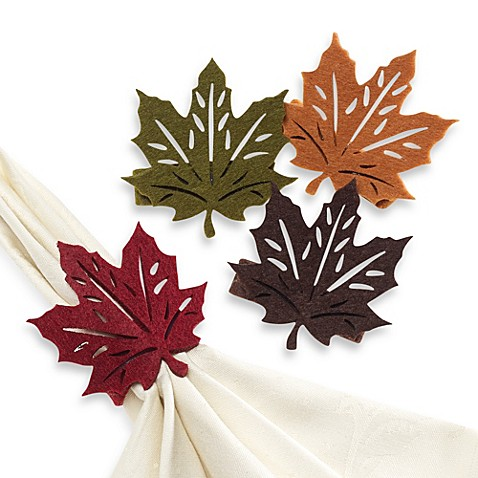 Fall Leaf Napkin Rings Set Of 4 Bed Bath Amp Beyond