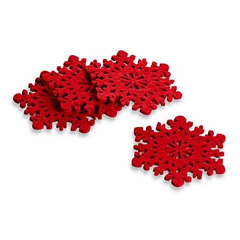snowflake felt coasters set of 4 bed bath beyond. Black Bedroom Furniture Sets. Home Design Ideas