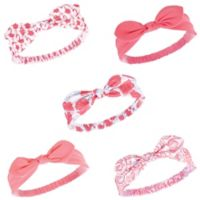 Hudson Baby® 5-Pack Flamingo Knotted Headbands in Coral
