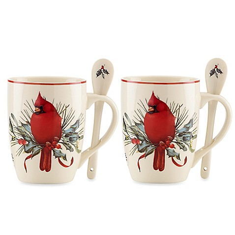 Lenox winter greetings cocoa mugs with spoon set of 2 bed bath lenox winter greetings cocoa mugs with spoon set of 2 m4hsunfo
