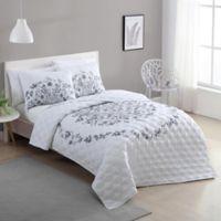 VCNY Home Lauren King Quilt Set in Black/White