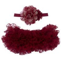 So 'Dorable™ Size 0-3M 2-Piece Ruffled Tutu and Flower Headband Set in Burgundy