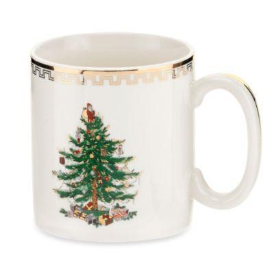 spode christmas tree gold mugs set of 4