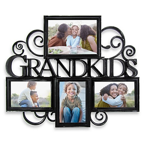 Grandkids 4 Photo Scroll Collage In Antique Black Bed