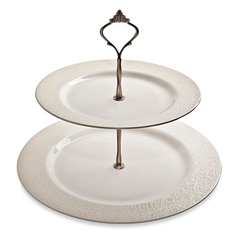 Denby Monsoon Lucille Gold 2-Tier Cake Stand - Bed Bath & Beyond