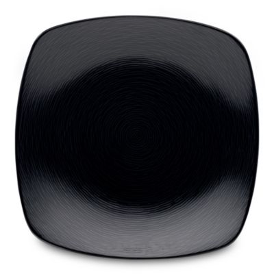 noritake black on black swirl square dinner plate