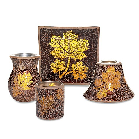 Yankee candle leaf mosaic collection candle accessories for Yankees bathroom decor