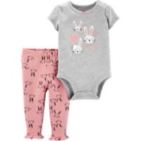 carter's® Size 9M 2-Piece Bunny Hearts Bodysuit and Pant Set in Grey