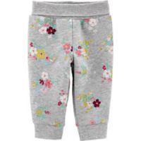 carter's® Newborn Floral Fleece Pant in Grey