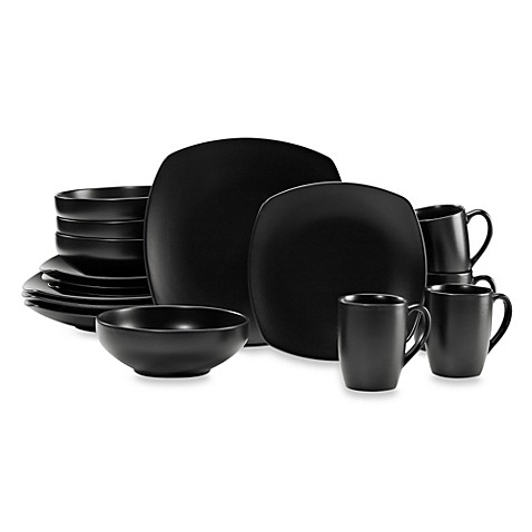 Gibson Home Paradiso 16-Piece Square Dinnerware Set in Black - Bed Bath \u0026 Beyond  sc 1 st  Bed Bath \u0026 Beyond & Gibson Home Paradiso 16-Piece Square Dinnerware Set in Black - Bed ...