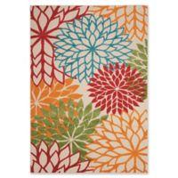 Nourison Aloha Floral Burst 5-Foot 3-Inch x 7-Foot 5-Inch Indoor/Outdoor Multicolor Area Rug