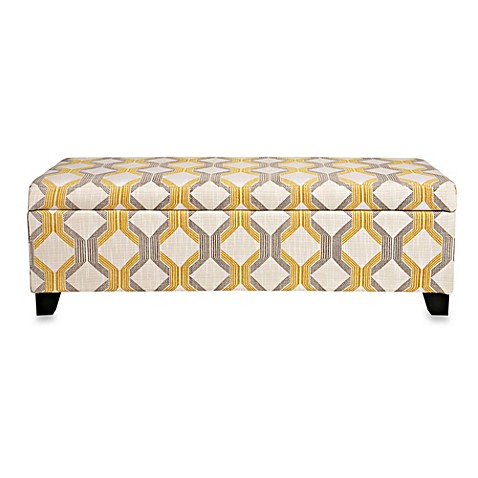 Angelo Home Kent Storage Bench In Modern Deco Yellow Taupe Tilework
