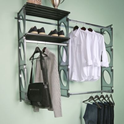 High Quality KiO Custom 5 Foot Closet And Shelving System In Black