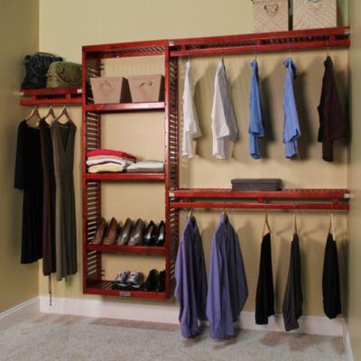 Closet Organization U003e John Louis Home Simplicity Closet Organizer In Red  Mahogany