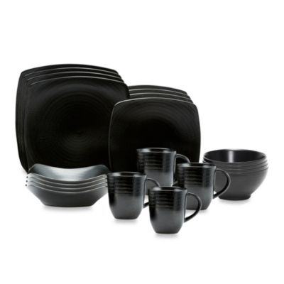 Red Vanilla Black Rice 20-Piece Dinnerware Set  sc 1 st  Bed Bath u0026 Beyond & Buy Black Square Dinnerware from Bed Bath u0026 Beyond