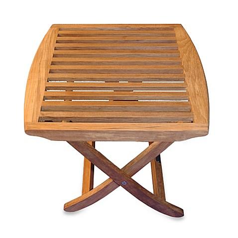 Teak Folding End Table Foot Stool Bed Bath Amp Beyond