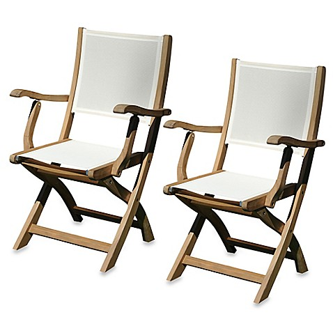 Teak Providence Folding Dining Chairs In Cream (Set Of 2)