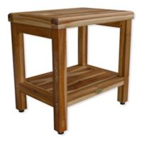 EcoDecors™ Classic 18-Inch Teak Shower Bench with Shelf in Natural